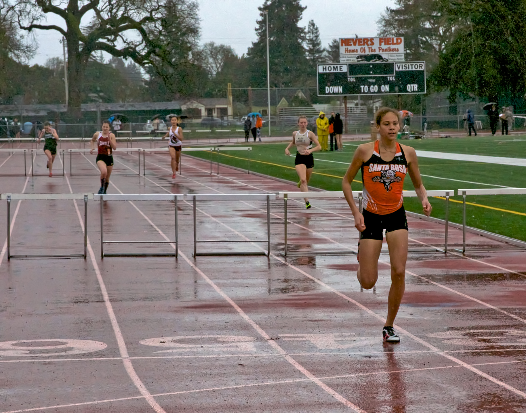 Winner of Varsity Girls 300H Santa Rosa's Kirsten Carter