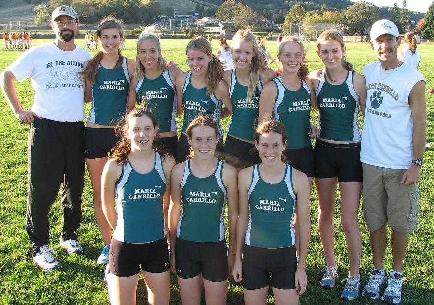 Here is a photo I took of the Carrillo team at the 2007 Ukiah Invitational. Coach Ruben DiRado, Sarah DiRado, Jenna Lundgren, Jordan Davis, Kelly O'Leary, Margie Garza, Alicia Lueth, Coach Greg Fogg Bottom row: Mikaela DeRousseau, Cara Curtin, Lauren Curtin