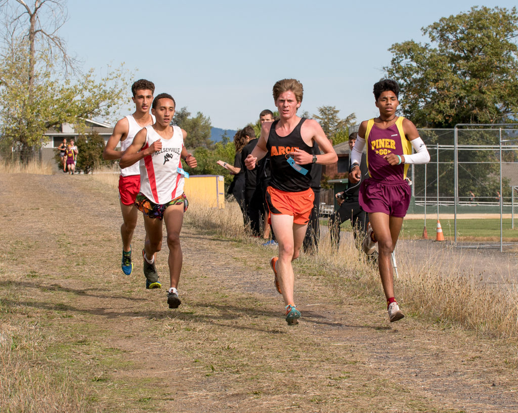 Leaders about 1/2 way. Swaboda is no longer in this lead pack as he had to drop out just past mile mark with hip injury. This pack from l. to r……Munir Kabbara - Ran Rafael, Andre Williams - Kelseyville, Kellen O' Neil- Arcata and Jonny Vargas - Piner