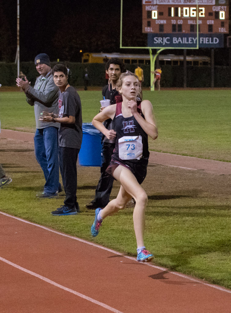 The Winner sprinting for the Finish -  Sophomore - Gabrielle Armstrong - Healdsburg in 11:15.6